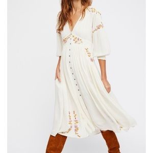 Free People Ivory Embroidered Midi Dress Day Glo M